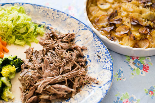 Slow Roasted Shoulder of Lamb Recipe at Housewife Confidential - this looks mouthwatering!