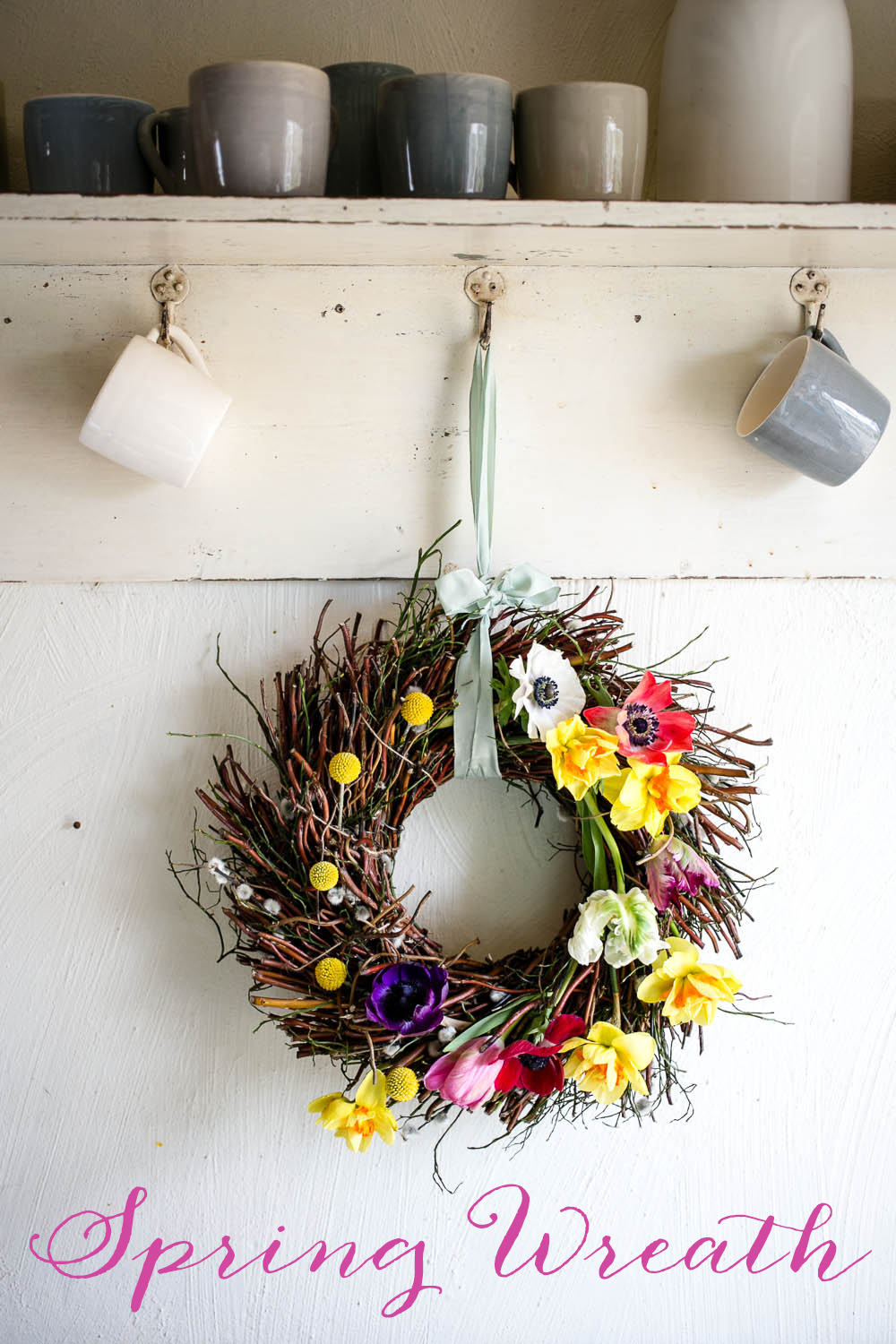 Spring Door Wreath by Housewife Confidential