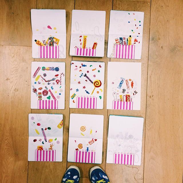 Tonight we sketched and painted sweeties #sketchbookclub