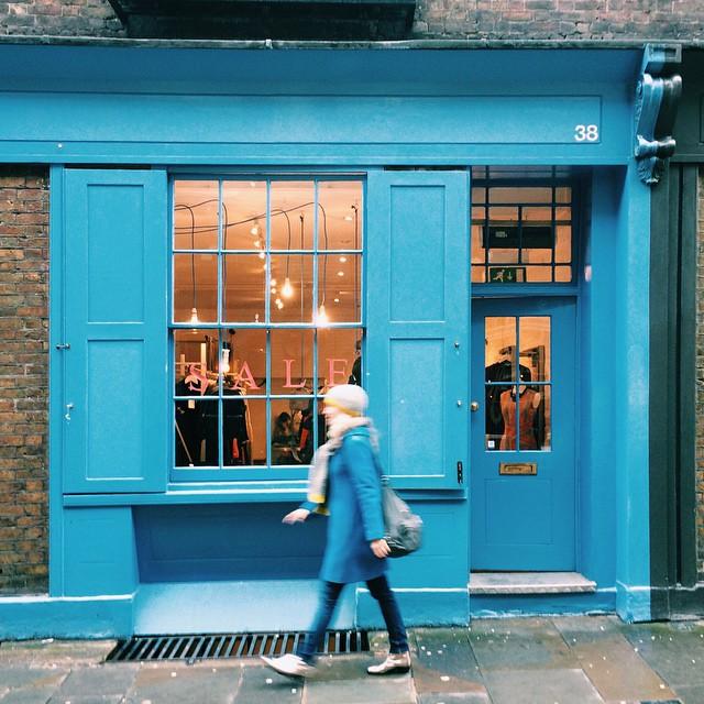 Stride by in blue.