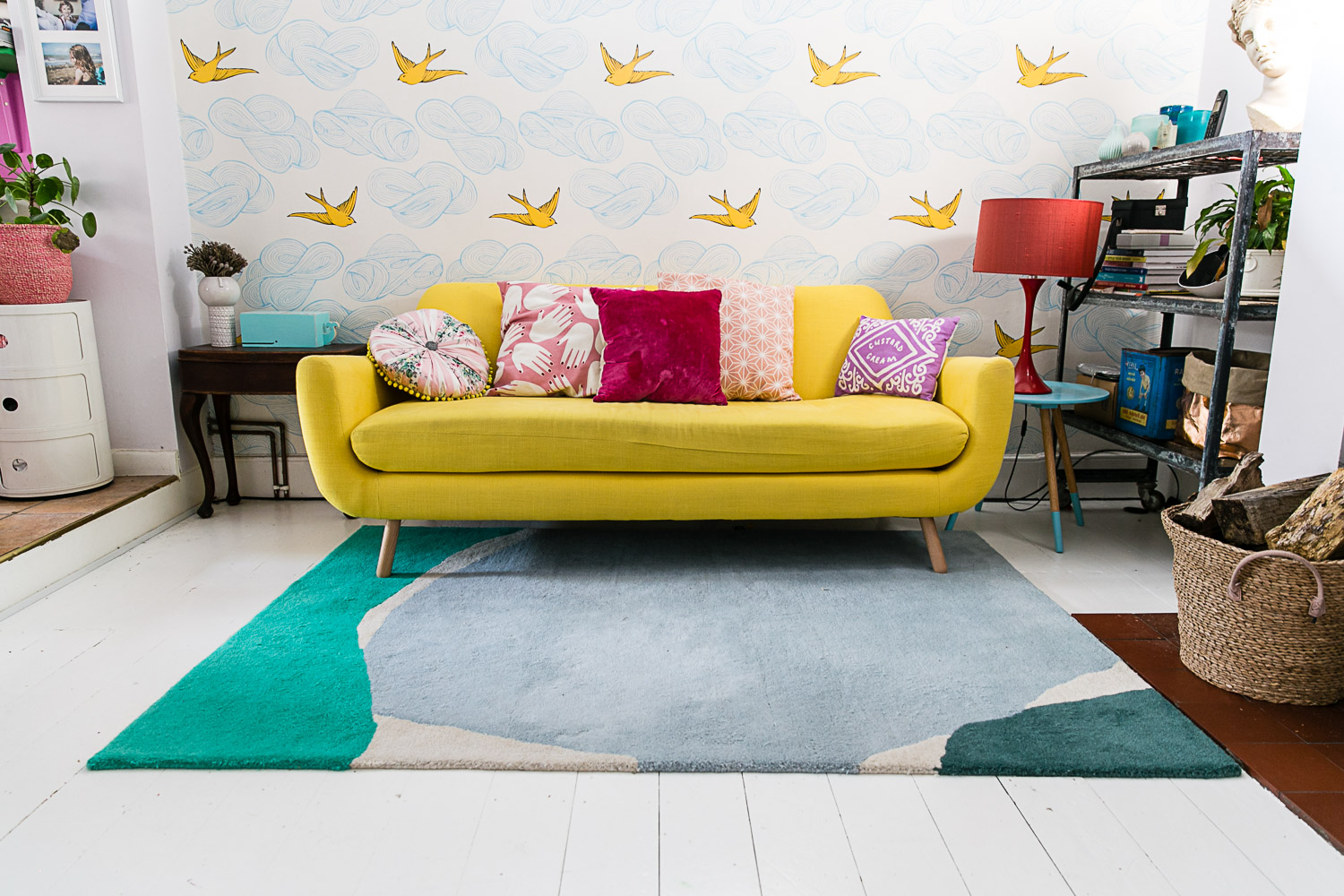 Yellow Sofa and White Floor Boards Colourful Living Room Makeover